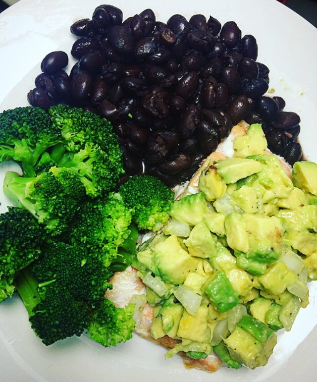 Salmon Broccoli Black Beans